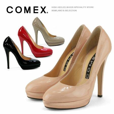 コメックス パンプス ラウンドトゥ ハイヒール ヒール13cm プラットフォーム COMEX ヒール (7193e) 美脚 結婚式 靴 【送料無料】