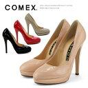 コメックス パンプス ラウンドトゥ ハイヒール ヒール13cm プラットフォーム COMEX 靴 (7193e) 美脚 結婚式 【送料無料】