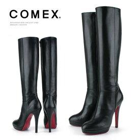 コメックス ロングブーツ ラウンドトゥ ピンヒール 13cm 厚底 ブラック×レッド COMEX レディース プラットフォーム ヒール ロング (7092) 靴 【送料無料】