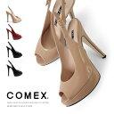 COMEX コメックス パンプス ピンヒール ヒール14cm オープントゥ ハイヒール バックベルト 厚底 サンダル プラットフ…