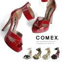 コメックス サンダル ハイヒール ヒール13cm アンクルベルト ピンヒール 厚底 COMEX 靴 (55360) 結婚式 【送料無料】