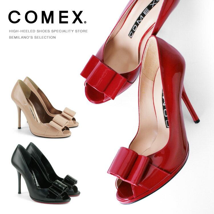 コメックス パンプス ハイヒール オープントゥ リボン ヒール10cm ピンヒール エナメル ヒール (5459) パーティ 結婚式 靴 【送料無料】