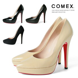 COMEX パンプス ポインテッドトゥ ピンヒール ヒール13cm 本革 厚底 コメックス プラットフォーム ヒール (5545) 美脚 結婚式 靴 【送料無料】