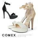 コメックス パンプス ピンヒール ヒール12cm オープントゥ ハイヒール サンダル アンクルベルト COMEX (7268) 結婚式 パーティ 【送料無料】