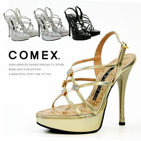 COMEX サンダル ピンヒール 13cmヒール フラワーモチーフ ラインストーン付き 厚底 バックベルト コメックス プラットフォーム ヒール (5343) 結婚式 靴 【送料無料】