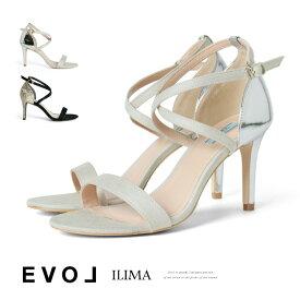 サンダル ハイヒール ピンヒール 甲ストラップ ヒール8cm ストラップパンプス クロスストラップ イリマ EVOL ヒール (7387) 結婚式 パーティ 靴