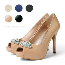 【訳あり】【アウトレット】 結婚式 パンプス ハイヒール オープントゥ ピンヒール 二次会 パーティー ヒール11cm プラチナドゥ Platino deux レディース 小さいサイズ プラットフォーム ヒール (3369) 美脚 ビジュー付き 靴