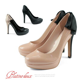 【訳あり】【アウトレット】結婚式 ハイヒール パンプス パーティー パンプス リボン ピンヒール 12cmヒール ラウンドトゥ プラチナドゥ Platino deux レディース プラットフォーム ヒール (3032) 靴