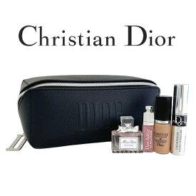 クリスチャンディオール レザー調ブラックポーチセット(001) 【Christian Dior】【W_168】