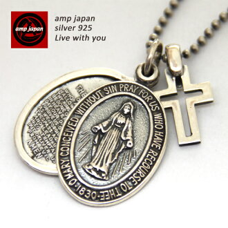 AMP JAPAN( amplifier Japan )Silver Maria Locket with Silver Cross rocket Maria silver necklace Michelle Chiba Yusuke DIR EN GREY Kyo Jin Akanishi スガシカオ Nana Katase wearing men gap Dis unisex 2ah-181