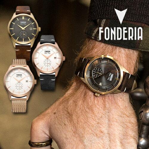 """Fonderia フォンデリア """"STREAMLINER ( ストリームライナー )"""" ビンテージレザーウォッチ 6G009UG1 6R009US1 8R009US1 イタリア カレンダー機能 全3色 メンズ"""