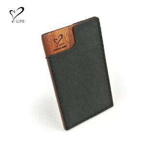【 名刺入れ 木製ケース】 LIFE ライフ 木製カードケース card-06 / リアルウッド 刻印 名入れ 名前 ハンドメイド オーダーメイド 日本製 父の日 誕生日 成人祝い 就職祝い 本革