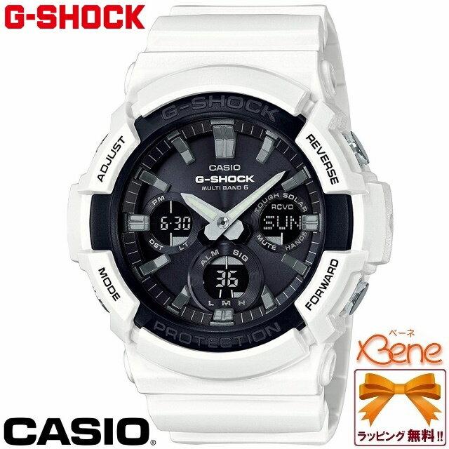 【正規品・送料無料!!】CASIO/カシオ G-SHOCK/ジーショック BIG CASE/ビッグケース BASIC/ベーシック メンズタフソーラー電波ウォッチ 20気圧防水 マルチバンド6 ワールドタイム ホワイト×ブラック/白×黒 GAW-100B-7AJF