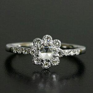 全品ポイント10倍 人気★再販 ローズカット ダイヤモンド リング、3.8ミリの輝き 「フィオレット」対応金種:K18(ホワイトゴールド、イエローゴールド、シャンパンゴールド、ピンクゴール