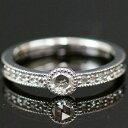 プラチナ900製 アンティークの魅力たっぷり!ローズカットダイヤリング「ガルボ」 誕生石 4月