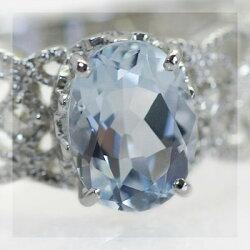 【送料無料】アクアマリン×ローズカットダイヤモンドリング【smtb-m】