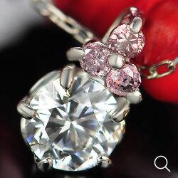 【送料無料】鑑定カード付き!ピンクダイヤモンド×グレードダイヤモンドペンダントチェーン付き(アジャスター:3cm長さ調節可能)PT900になります。オーダー【smtb-m】