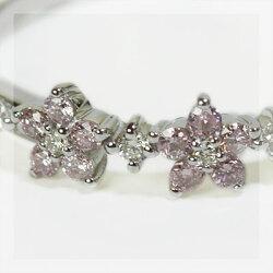 アーガイル鉱山産ピンクダイヤモンドフラワーモティーフダイヤモンドリング誕生石4月春色ピンク