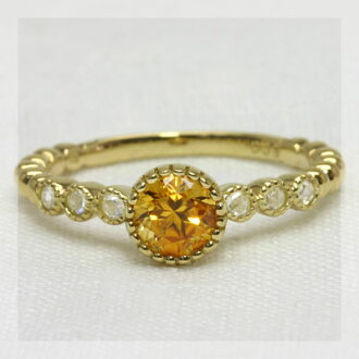 """Signet"" citrine saffron color x rose cut diamond mill cast ring"