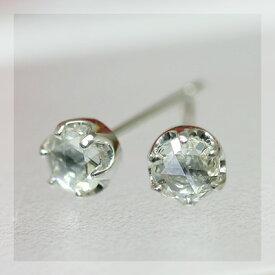 ローズカットダイヤモンド3.6ミリ ティファニーセッティングピアス ※こちらのピアスは1ペアの金額です 誕生石 4月