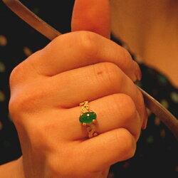【1本分新たなルースご用意】翡翠&ローズカットダイヤモンド・ブリリアントカットダイヤモンドリング誕生石4月5月