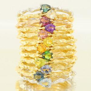 全品ポイント10倍 リング 指輪 全12種類選べる K10仕様 カラーレディスリング「ドロップ」K18/K10対応 ギフト プレゼント 女性 重ねつけ おしゃれ 誕生石ルースにより金額が変動します割引対象