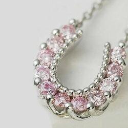 【送料無料】ピンクダイヤモンドホースシューペンダント【smtb-m】