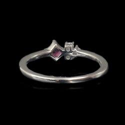 限定1本0.08ctレッドベリル(レッドエメラルド)×ローズカットダイヤモンドリング「流れ星」PT900#7または#13サイズ変更承ります限定1本誕生石5月4月