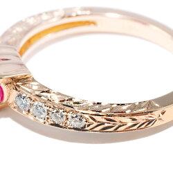 彫りの技術に驚き!ハートシェイプルビーダイヤモンドリングPT900K18ピンクゴールド各1本限定11号サイズ変更承ります誕生石7月4月
