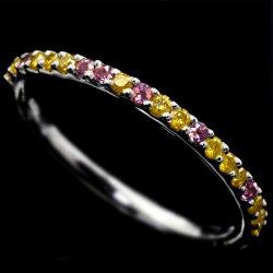 16周年ゴールデンダイヤモンド×アレキサンドライト究極のストレートリングPT900誕生石4月6月