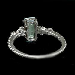 限定1本パライバトルマリンxローズカットダイヤモンドリング「インプレシオ」PT900#11誕生石10月サイズ変更承ります