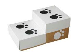 犬、猫用 階段 スロープ わんステップ 2段/ホワイト 国産硬質ダンボール使用【あす楽対応商品】