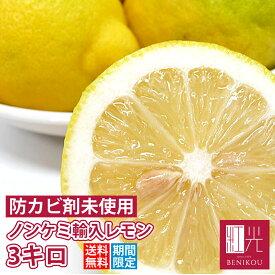 【予約・お届けは9月上旬頃】 ノンケミレモン 3kg (約20-30個) 【送料無料】 ノンケミカル輸入レモン 「北海道・沖縄は+1100円」 レモン 柑橘 果物 フルーツ