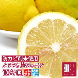 ノンケミレモン 10kg (約65−90個入) 【送料無料】 ノンケミカル輸入レモン 「北海道・沖縄は+1100円」 レモン 柑橘 果物 フルーツ
