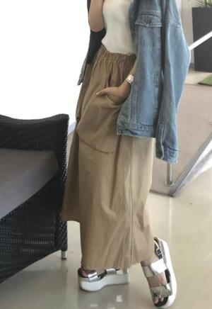 GLAMOROUSGARDENカラーポケットスカート【ミディ丈シンプルウエストゴムレディースボトムスグラマラスガーデン】