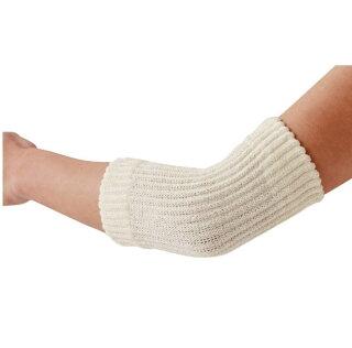 肘用サポーターゆったり編んだシルク混サポーターひじ用2枚組アイボリーワンサイズ絹腕回り20〜30cm