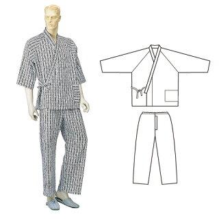 抗菌防臭ガーゼねまきパジャマ型ねまき(ラクラン)紳士用・通年用
