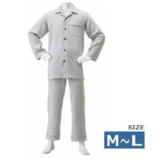【介護服・介護用パジャマ】【神戸生絲】紳士用楽らくキルトパジャマM/Lサイズ