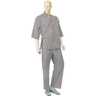 【神戸生絲】パジャマ型ねまき(ラグラン)紳士用『おくつろ着』通年用・M/Lサイズ【パジャマ】【男性】【メンズ】【寝巻】【部屋着】【介護】