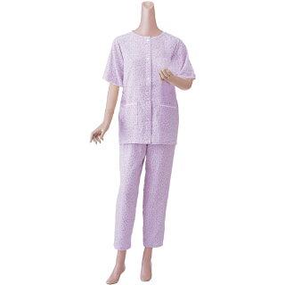 【半袖】婦人用楽らくガーゼパジャマ春夏用S・M・Lサイズ色:ローズ