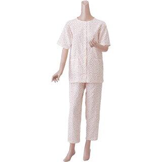 【パジャマ】【神戸生絲】婦人用楽らくガーゼパジャマ春夏用・半袖S・M・Lサイズ