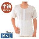 【紳士用・M-L】[クレープ前開き 半袖(CH-1)] ホワイト 神戸生絲 男性用 メンズ 春夏用 下着 シャツ 面ファスナー式 マジックテープ …