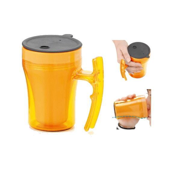 幸和製作所 「テイコブ マグカップ」 オレンジ C02 介護食器 コップ フタ付き 持ちやすい 自助具 介助 誤嚥防止 ストローコップ 湯呑み 入院 介護用品