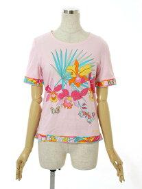 レオナール スポーツ Tシャツ カットソー 花柄 花柄 半袖 38【Bランク】【中古】tn300920