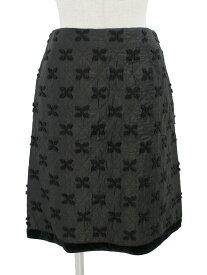 エムズグレイシー スカート フラワーモチーフ 裾ベロア 花柄 38【Aランク】 【中古】tn190303