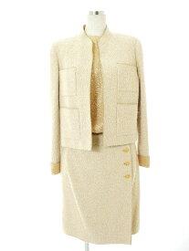 【18%OFF】シャネル スカートスーツ 96A Vintage ココ ゴールド 3ピース スタンドカラー 長袖 40/40【Bランク】 【中古】tn190317 K3fB RSS10