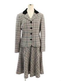 エムズグレイシー スカートスーツ ベロア チェック 40/40【Aランク】【中古】tn190512