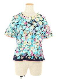 レオナール Tシャツ カットソー コットン フラワーペイント 花柄 半袖 LL【Aランク】 【中古】