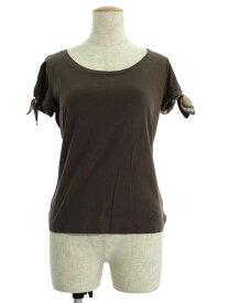 バーバリーロンドン Tシャツ カットソー 袖リボン ワンポイント 半袖 1【Aランク】【中古】tn190704