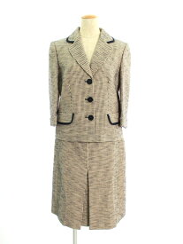 サルヴァトーレフェラガモ スカートスーツ 3B コットンツイード 総柄 42/40【Aランク】【中古】tn190707